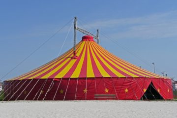 Circus tent is example of fabric structures erected by event labour hire.